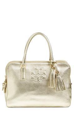 Oh this is stunning! Metallic Tory Burch satchel with tassels.
