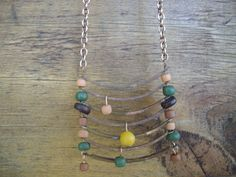 Rustic Copper Connectors Indo Pacific Green Salmon, Brown Stone Glass Beads, Brown Wood and Mustard Jasper Bead Necklace and Earrings