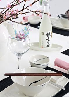 Image result for japanese black & green table setting