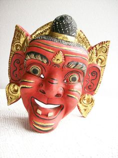 Vintage Carved Mask Balinese Demon Red by AletaFordBakerDesign, $75.00