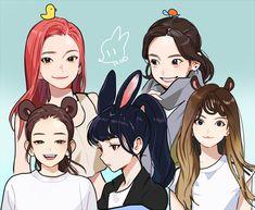 Red Velvet by Kpop Drawings, Cute Drawings, Seulgi, Anime Manga, Anime Art, Exo Red Velvet, Velvet Wallpaper, Red Valvet, Park Sooyoung