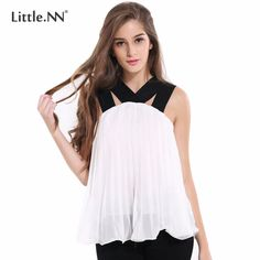 LittleNN Women's Blouses Ladies Casual Tops V Neck Sleeveless Chiffon Loose Summer Style Female Clothing 2017 White Black Shirts