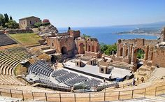 Ruins of an Ancient Greek Theater at Tauromenium, Sicily