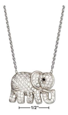 """Sterling Silver 16""""-18"""" Adjustable Micro Pave Cubic Zirconia Elephant Necklace"""