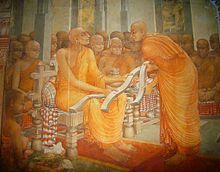 Painting depicting Buddhaghosa offering his Visuddhimagga to monks in Mahavihara, the center of Theravada Buddhism in Sri Lanka