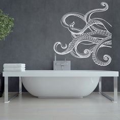 Large Kraken Octopus Tentacles Vinyl Wall Decal- Nautical Wall Decal- Ocean Wall…