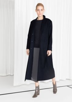 & Other Stories image 2 of Long Waisted Wool Coat in Dark Blue