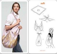 Make a bag from a scarf- no sew- in spanish but easy to follow diagram.