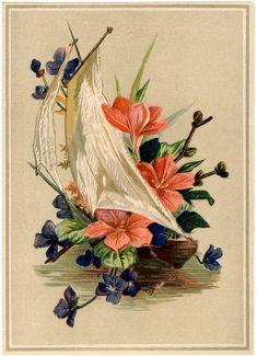 Antique Sailboat with Flowers Image – Lovely! (via Bloglovin.com )