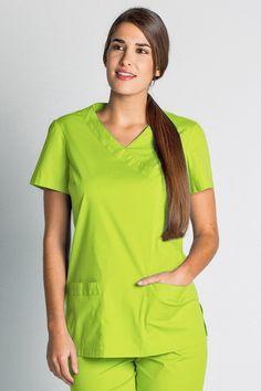 Blouse tunique médicale vert anis stretch -Tunique médicale Femme