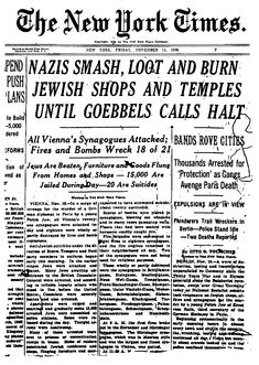 The New York Times article on November 11, 1938 regarding the persecution of Jews in Vienna, Austria.