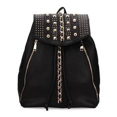 Women Rivet Casual Drawstring PU Leather Backpack ($25) ❤ liked on Polyvore featuring bags, backpacks, drawstring backpack bags, backpacks bags, drawstring knapsack, rucksack bag and pleather backpack