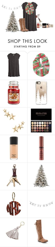 """""""12 Days till Christmas!!!"""" by amaya-leigh ❤ liked on Polyvore featuring H&M, Yankee Candle, Casetify, Kenneth Jay Lane, MAC Cosmetics, NYX, Kate Spade and Jessica Carlyle"""