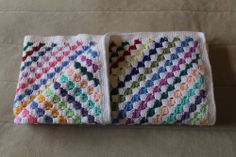 A diagonal box stitch crochet blanket for baby Mathias - so many ends to sew in! - Pattern: http://www.crochetspot.com/how-to-crochet-corner-to-corner-diagonal-box-stitch/