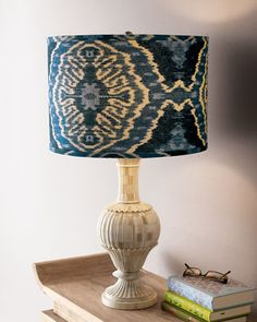 Jamie Young table lamp with navy Ikat shade.