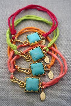 Turquoise Bezel Neon Silk Bracelet. $28.00, via Etsy.