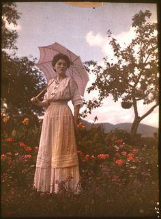 Woman on hillside - Autochrome - Unknown Photographer - c. 1910