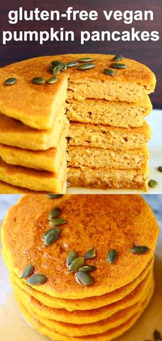 These Gluten-Free Vegan Pumpkin Pancakes are moist and fluffy, subtly spiced and perfectly satisfying! They make a filling breakfast and are perfect for Thanksgiving or Christmas! They're dairy-free, egg-free and refined sugar free (or can be made with no added sugar) too.