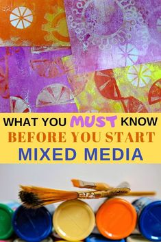 Mixed media essentials you must know You must know these four things about mixed media before you start! Mixed Media Techniques, Mixed Media Tutorials, Art Journal Techniques, Art Tutorials, Craft Projects For Adults, Easy Craft Projects, Arts And Crafts Projects, Diy Crafts, Paper Crafts