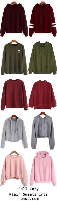 Fall Cozy Plain Sweatshirts from romwe.com