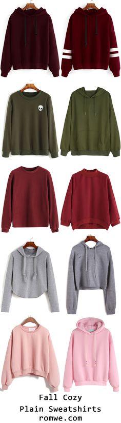 Fall Cozy Plain Sweatshirts from romwe.com