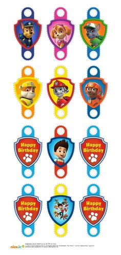 I made these to put on straws. Printed into 24 pound copy paper which worked nicely. Paw Patrol Cake, Paw Patrol Party, Paw Patrol Birthday, Paw Patrol Decorations, Cumple Paw Patrol, Party Blowers, Puppy Party, 2nd Birthday, Straws