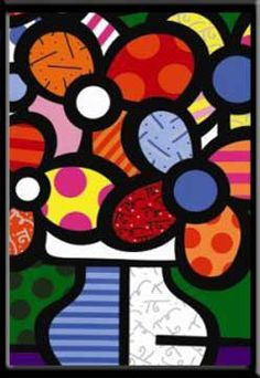 Romero Britto, paint cut paper black overlay