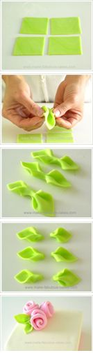 How to make easy fondant leaves. And make the roses for a cake too