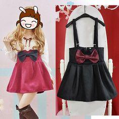 Bowknot skirt high waist woolen bowknot winter braces skirt $28.99