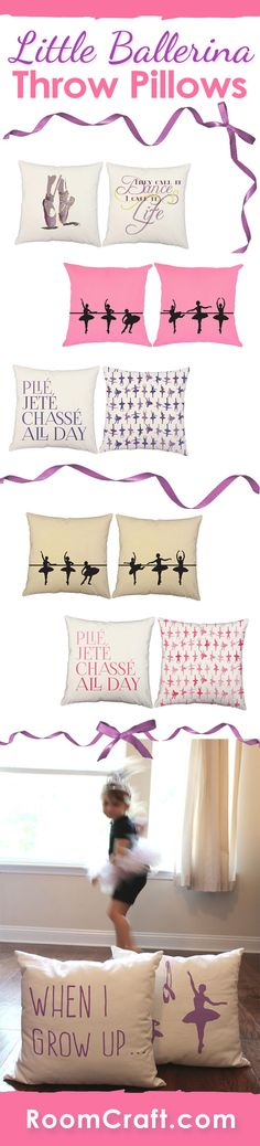 Encourage your little one's love for dance with these beautiful ballerina throw pillows. She will be twirling around in her room with her new ballet pillows before you know it. Each beautiful design is offered in multiple fabrics, sizes, and colors making them perfect for any room in your home, office or sunroom. Our quality pillow covers are made to order in the USA and feature 3 wooden buttons on the back for closure. Choose your favorite and create a truly unique pillow set. #roomcraft
