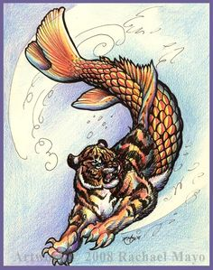 Shachihoko- Japanese folklore: half tiger half fish, it could control the rains. Statues of it are built around temples to protect it from fire
