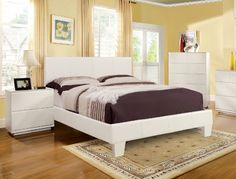 Furniture of America Lauren Leatherette Upholstered Platform Bed, Full, White *** Details can be found by clicking on the image.