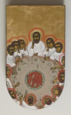 The Last Supper Contemporary icon-Ukraine Religious Images, Religious Icons, Religious Art, Byzantine Icons, Byzantine Art, Christian Symbols, Christian Art, Religious Paintings, Biblical Art