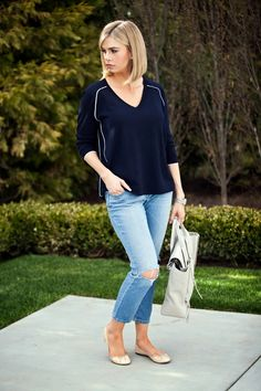 outfit details: J.Crew sweater (on major sale!) // Old Navy jeans // J.Crew flats ( love these ) // Phillip Lim bag // Miche...
