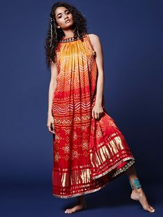 Orange Red Designer Bandhej Kurti