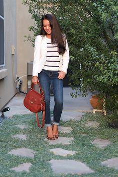 Casual stripes, white blazer, denim jeans, purse and leopard pumps - OOTD // http://www.stylishpetite.com/2013/10/casual-stripes-and-white-blazer.html