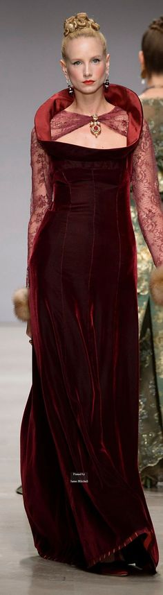 Raffaella Curiel Couture Fall-winter 2015-2016. Not crazy about the gown overall, but love the rich color.