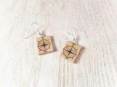 Compass Earrings, Compass Jewelry, Nautical Compass, Silver Earrings, Compass Gift, Old Antique Compass, Nautical Earrings, Nautical Jewelry