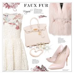 """""""Faux Fur Coat"""" by stranjakivana ❤ liked on Polyvore featuring RED Valentino, RALPH & RUSSO, Balmain, Hermès, Hiho Silver, Andrea Fohrman, polyvoreeditorial and fauxfurcoats"""