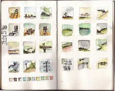 Neat idea for watercolor students.an entry a day in small squares? (Watercolor journal entry by Amanda Kavanagh) Sketch Journal, Artist Journal, Artist Sketchbook, Art Journal Pages, Art Journals, Small Sketchbook, Kunstjournal Inspiration, Sketchbook Inspiration, Watercolor Journal