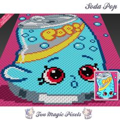 Soda Pop crochet blanket pattern; knitting, cross stitch graph; pdf download; Shopkins; no written counts or row-by-row instructions by TwoMagicPixels, $3.79 USD
