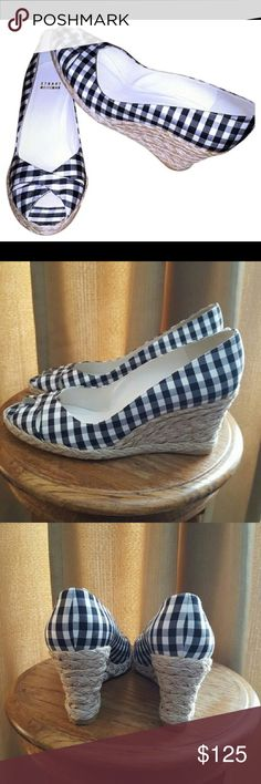 STUART WEITZMAN HOUNDSTOOTH WEDGES(8.5M) MINT CONDITION! CROCHET WEDGES! THE MUST HAVES!! Stuart Weitzman Shoes Wedges