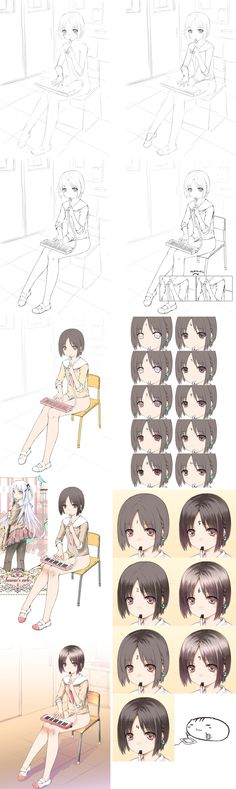 How to draw a cute anime girl drawing tutorial. ✤ || CHARACTER DESIGN REFERENCES | キャラクターデザイン | çizgi film • Find more at https://www.facebook.com/CharacterDesignReferences & http://www.pinterest.com/characterdesigh if you're looking for: #color #theory #contrast #manga #soft #cell #shading #animation #how #to #draw #paint #drawing #tutorial #lesson #balance #sketch #colors #digital #painting #process #line #art #tips #coloring || ✤