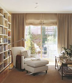 Ideas for bedroom cosy corner bookshelves Home Library Design, Home Office Design, House Design, Interior Design Living Room, Living Room Designs, Living Room Decor, Home Living, Living Spaces, Home Libraries