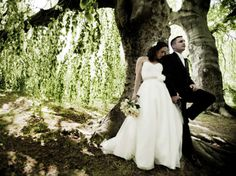 A stunning shot of the couple. | Viera Photographics | See more of this stunning real #wedding: http://www.mywedding.com/articles/jason-lisas-ocean-cliff-wedding-newport-ri/