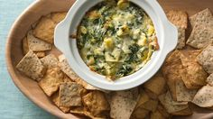 Impress your guests with this irresistible artichoke dip, made fast with frozen spinach, prepared Alfredo sauce, and plenty of Swiss cheese.