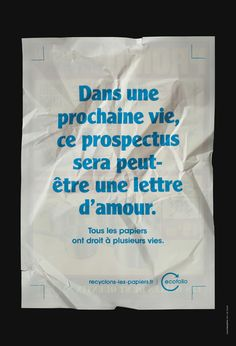 """La campagne Ecofolio - recyclage du papier, """"Tous les papiers ont droit à plusieurs vies."""" - septembre 2012 2012-09-01 00:00:00 et sa fiche technique."""