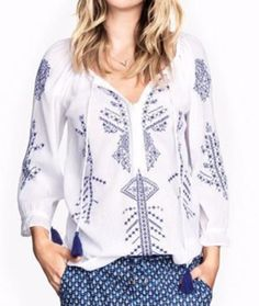 Embroidered floral pullover blouse - Sassy Posh - 1