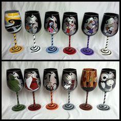Custom order: Nightmare Before Christmas wine set