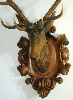 great antique black forest carved wood stag head